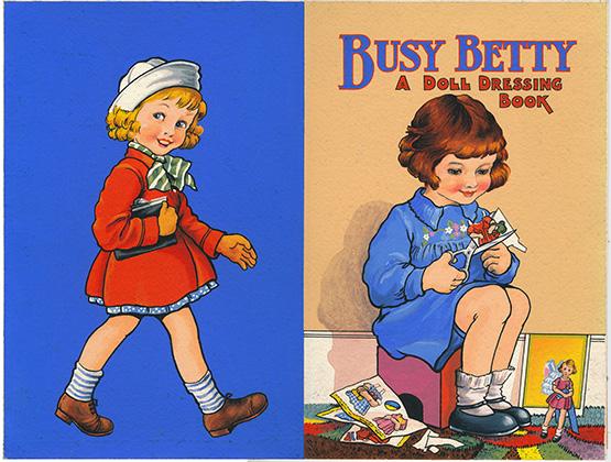 Doll cutout book artwork Busy Betty England