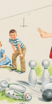 Children's Book Bowling Summer Artwork For Sale